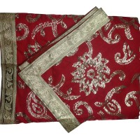 Red Rumala with Sequence work Silk with lining