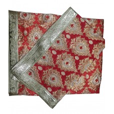 Bright Red Rumala Sahib with Zari Embroidery