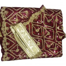 Maroon Net Rumala with sequence work with cut-work border