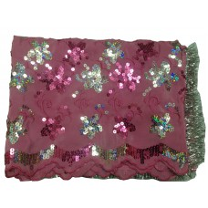 Single Rumala with Sequence and Thread work Embroidery, Pink color