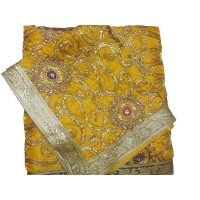 Yellow Heavy Embroidery Rumala Sahib
