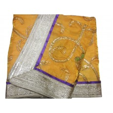 Yellow Heavy Embroidery Rumala Sahib with Purple Border Gota