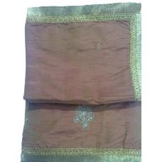 Rust color Silk Rumala Sahib with Dabka Butti and Golden Gota Borders