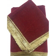 Maroon Red Self Velvet Rumala Sahib with Golden Gota Borders