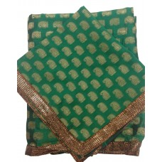 Bottle Green Banarsi Butti Rumala Sahib with Gota Borders
