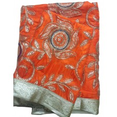 Orange Silk Rumala Sahib with Embroidery and Golden Borders