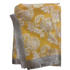Yellow Broccade Rumala Sahib with Silver Borders
