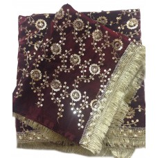 Maroon Satin Rumala Sahib with All Over Sequence Embroidery