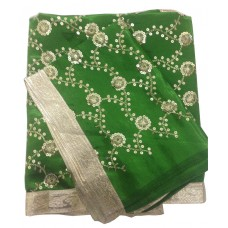 Green Satin Rumala Sahib with All Over Sequence Embroidery