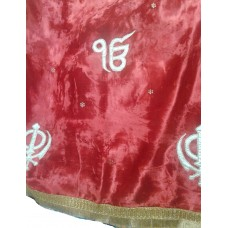Red Maroon Velvet Rumala Sahib with Patch Work Embroidery