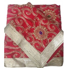 Red Silk Rumala Sahib with Embroidery