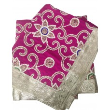Magenta Silk Rumala Sahib with Embroidery
