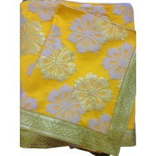 Yellow Print Rumala Sahib with Golden Gota