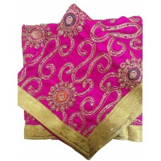 Magenta Silk Rumala Sahib with Heavy Embroidery