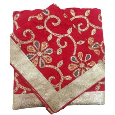 Red Silk Rumala Sahib with Golden Embroidery