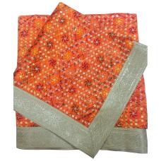 Orange Rumala Sahib with Embroidery and Sequence